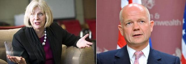Lielbritānijas Iekšlietu ministre Terēza Meija un Lielbritānijas Ārlietu ministrs Viljams Heigs