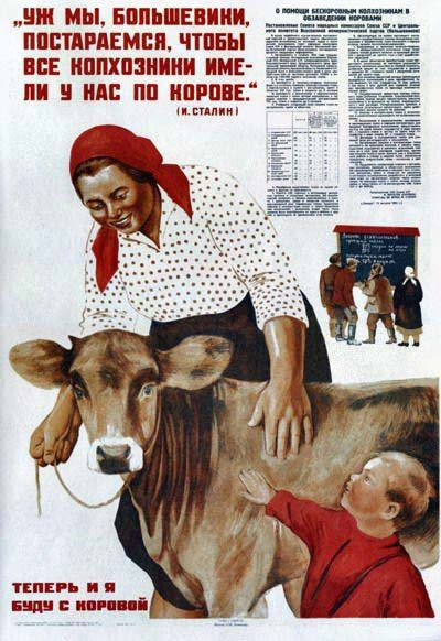 """""""Mēs, boļševiki, noteikti pacentīsimies, lai katram kolhozniekam pie mums būtu pa govij"""" J.Staļins. Tagad arī man būs govs."""