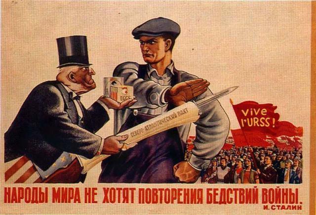 """Ziemeļatlantiskais pakts. """"Pasaules tautas negrib kara posta atkārtošanos"""" J.Staļins"""