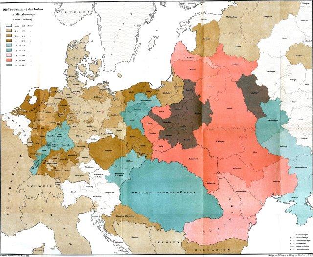 Ebreju īpatsvars Eiropā uz 1881.gadu