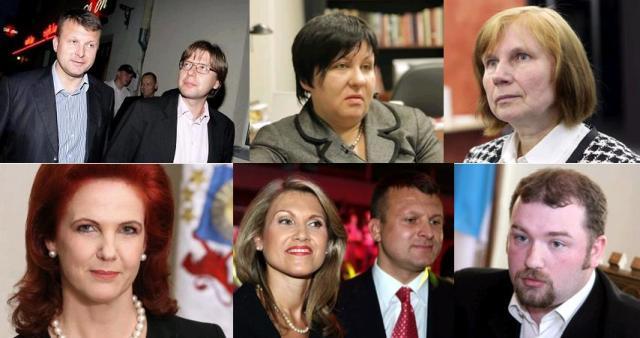 Ainārs Šlesers, Nils Ušakovs, Ingrīda Labucka, Laila Rieksta-Riekstiņa, Solvita Āboltiņa, Inese Šlesere ar vīru, Aivars Krasnogolovs