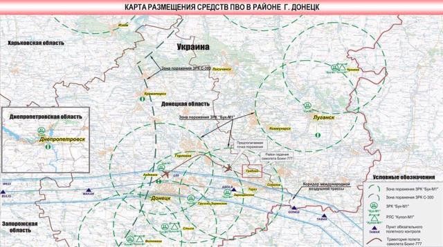 Pretgaisa aizsardzības sistēmu atrašanās vietu karte Doņeckas apkaimē 17.07.2014  aviokatastrofas laikā