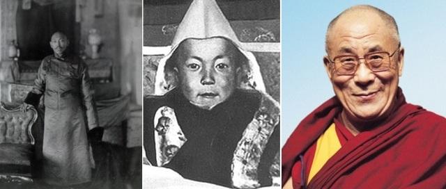 Dalailama XII un Dalailama XIV bērnībā un mūsdienās