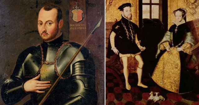 """Ignācijs Lojola, Filips II Habsburgs ar sievu Mariju I Tjūdori """"Asiņaino"""""""