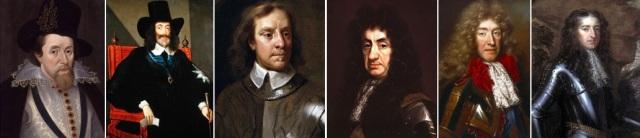 Jēkabs I Stjuarts, Kārlis I Stjuarts, Olivers Kromvels, Kārlis II Stjuarts, Jēkabs II Stjuarts, Orānijas Vilhelms (Vilhelms III)