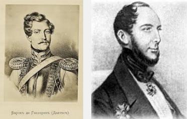 """Žoržs Dantess un viņa """"audžutēvs"""" un piegulētājs barons Lui Jakobs Teodors van Gekerns (Nīderlandes vēstnieks Krievijā)"""