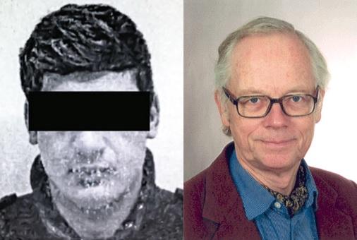 Bērna izvarotājs Amīrs A. (pilna bilde nav pieejama dēļ tolerantās likumdošanas) un viens no viņa attaisnotājiem - doktors Tomass Filips