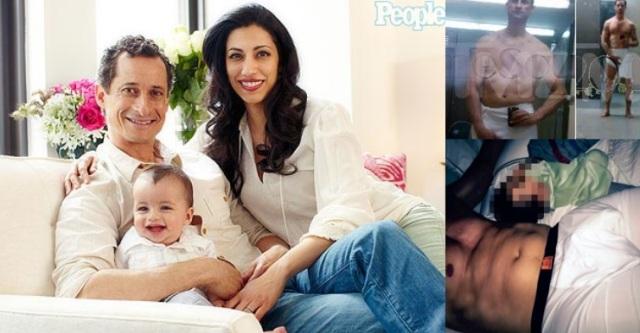 Huma Abedin ar vīru Entoniju Vineru un dēļu (reklāmas publikācijas žurnālā People bilde); Entonija Vinera čatbildes, tai skaitā - ar dēlu.